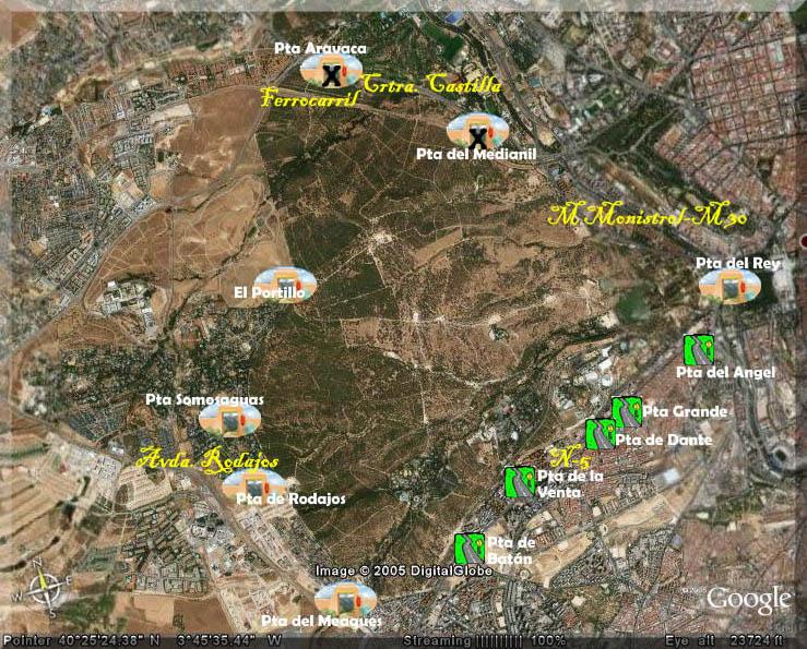 Accesos a la casa de campo - Mapa de la casa de campo ...